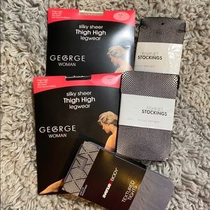Stockings fish nets & textured tights bundle of 5